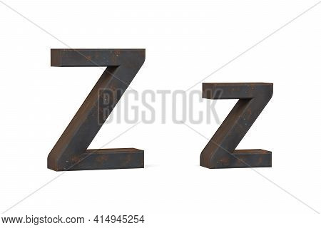 Rusty Letter Z - Three Dimensional Uppercase And Lowercase Z On White Background - 3d Render