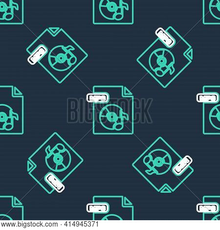 Line Mp3 File Document. Download Mp3 Button Icon Isolated Seamless Pattern On Black Background. Mp3