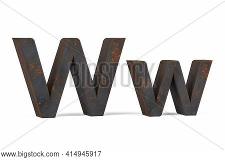 Rusty Letter W - Three Dimensional Uppercase And Lowercase W On White Background - 3d Render
