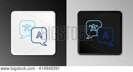 Line Translator Icon Isolated On Grey Background. Foreign Language Conversation Icons In Chat Speech