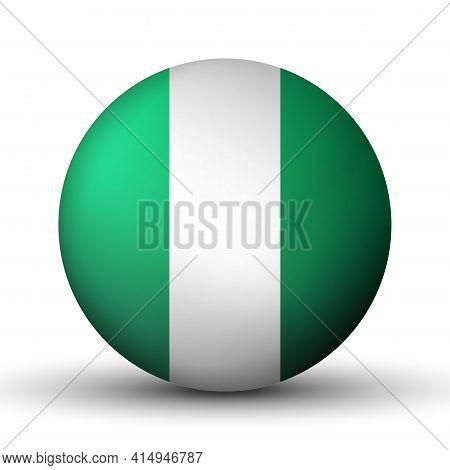 Glass Light Ball With Flag Of Nigeria. Round Sphere, Template Icon. Nigerian National Symbol. Glossy