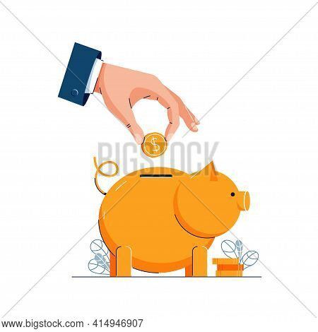 Save Or Save Up Money Vector Illustration. Hand Is Putting Coin Into The Piggy Bank For Saving Money