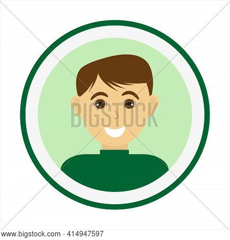 Smiling Man Face With Brown Hair And Wearing Green Turtleneck Sweater. Male Face. Man Avatar. Handso