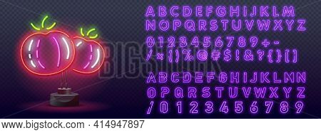 Tomato Neon Sign, Bright Signboard, Light Banner. Neon Logo, Emblem. Two Red Tomatoes Neon Icon. Glo