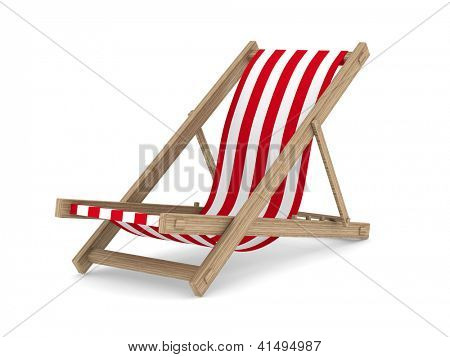 Deckchair on white background. Isolated 3D image