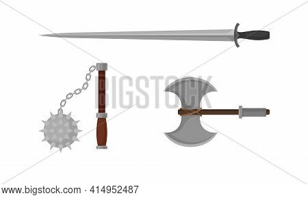 Medieval Cold Steel Arms Or Blade Weapon With Hatchet And Dagger Vector Set