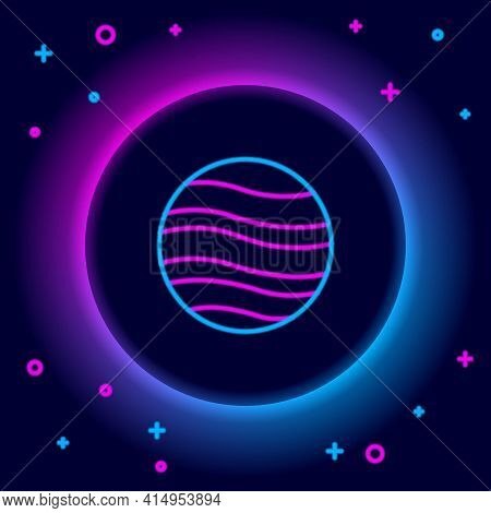 Glowing Neon Line Planet Jupiter Icon Isolated On Black Background. Colorful Outline Concept. Vector