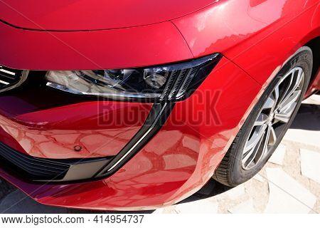 Bordeaux , Aquitaine France - 03 25 2021 : Peugeot 508 Headlight New Front Car French Automaker