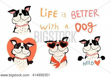 Collection Of Cute Dogs, French Bulldog Or Pug With Quote And Holding Sign. Pet Lovers Symbols With