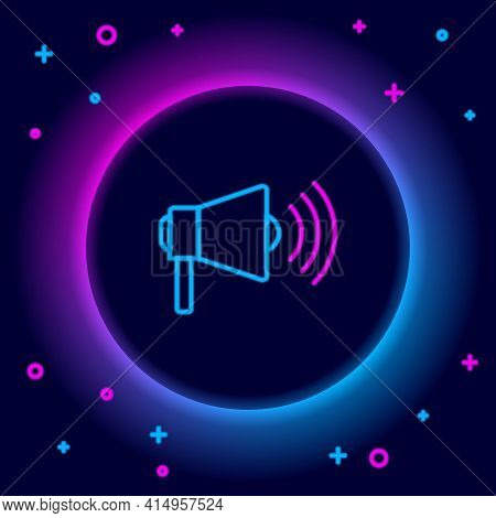 Glowing Neon Line Megaphone Icon Isolated On Black Background. Loud Speach Alert Concept. Bullhorn F