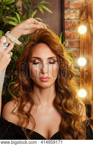 Creation Of Evening Hairstyles Fashionable Stylish Women Hairstyles. Hair Styling Process. Training