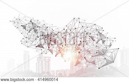 Abstract Network With Polygonal Shapes On Background Of Modern Cityscape. Science Research And Innov
