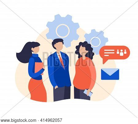 About Us Page Concept Flat Illustration. Corporate Profile And Team Information. Company Employees P