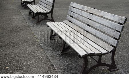 Wooden Bench In The Park At Noon