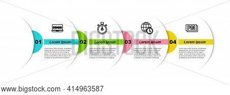 Set Line Clock On Laptop, Stopwatch, World Time And Pm. Business Infographic Template. Vector