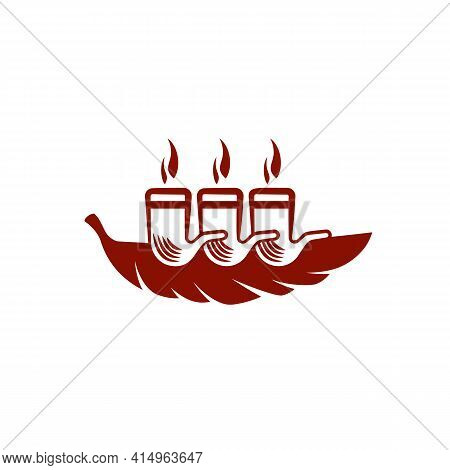 Simple And Flat Tobacco Leaf And Steamship Icon. Vector Smoking Pipe Logo Idea For The Business Card