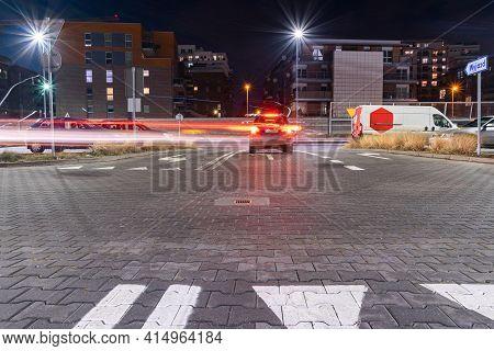 Parking Garage. Empty Road Asphalt Background. Car Lot Parking Space In Underground City Garage. Mod