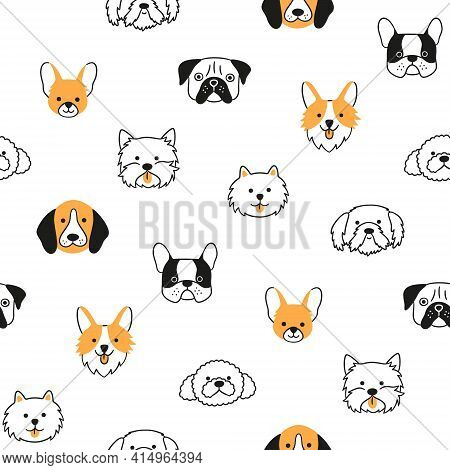 Seamless Pattern With Heads Of Different Breeds Dogs. Corgi, Pug, Chihuahua, Terrier, Poodle And Shi