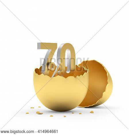 Seventy Percent Sign In A Golden Broken Eggshell. 3d Illustration