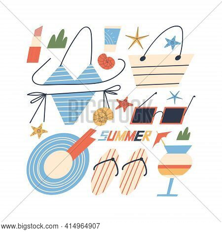 Summer Beach Accessory Set For Vacation And Seaside Vacation For Women. Flat Style. Vector