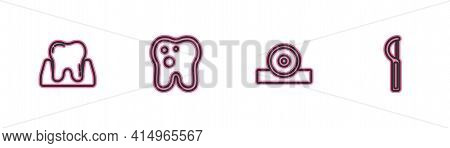 Set Line Tooth, Otolaryngological Head Reflector, With Caries And Dental Floss Icon. Vector