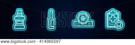 Set Line Mouthwash Bottle, Painkiller Tablet, Otolaryngological Head Reflector And Dental Card. Glow