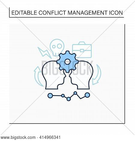 Conflict Management Line Icon. Conflict Between Two Persons. Successfully Handles, Resolves Issues S