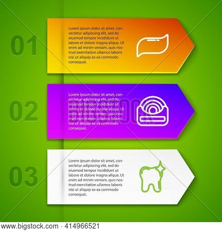 Set Line Toothpaste, Dental Floss, Whitening And Implant. Business Infographic Template. Vector