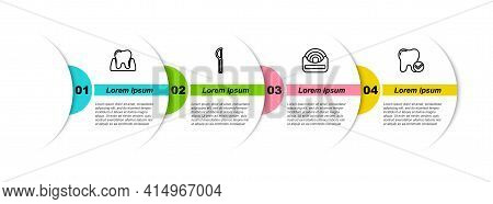 Set Line Tooth, Dental Floss, And Whitening Concept. Business Infographic Template. Vector