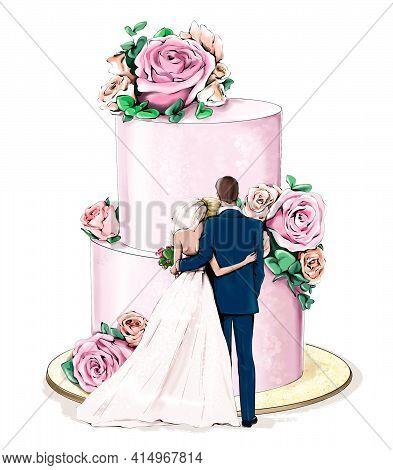 Wedding Couple Standing Near Wedding Cake With Flowers. Stylish Wedding Concept.