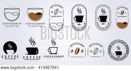 Set Bundle Coffee Shop Logo Simple Modern Vector Illustration Design