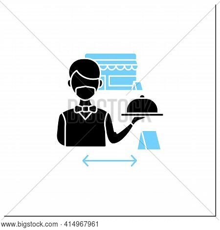 Worker Uniform Glyph Icon.restaurant Worker In Face Mask And Gloves.additional Protection. New Norma