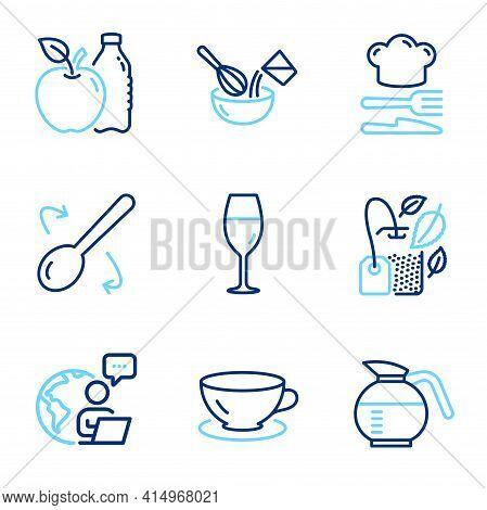 Food And Drink Icons Set. Included Icon As Mint Bag, Apple, Cooking Whisk Signs. Cooking Spoon, Coff