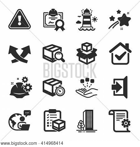 Set Of Industrial Icons, Such As Consolidation, Buildings, Lighthouse Symbols. Delivery Timer, Inter