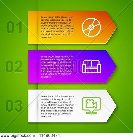 Set Line Cd Or Dvd Disk, Cinema Chair, Camera And Location And Ticket. Business Infographic Template