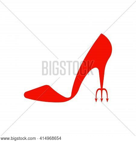 Beautiful Women S Shoes On A White Background, Sexy Shoes, Classics. High-heeled Shoes. Vector Illus