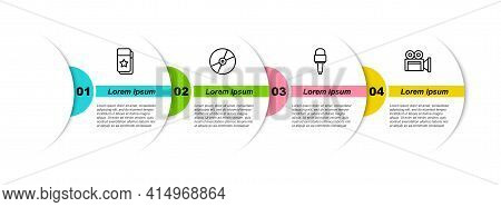 Set Line Cinema Ticket, Cd Or Dvd Disk, Microphone And Camera. Business Infographic Template. Vector