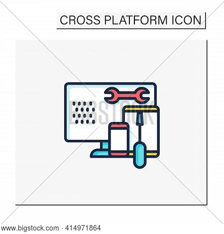 Coding Toolkit Color Icon. Software Development Tools. Instruments For Creating Programming Code. Co