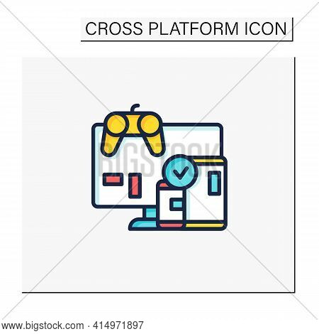 Cross Platform Play Color Icon. Platform For Playing Games. Testing. Trial. Special Technical Equipm