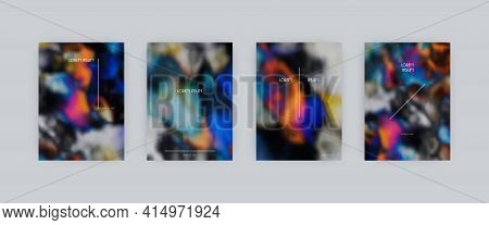 Set Of Vector Cover Templates. Iridescent Dark Colors Hand Painted Psychedelic Tie Dye Blurred Backg