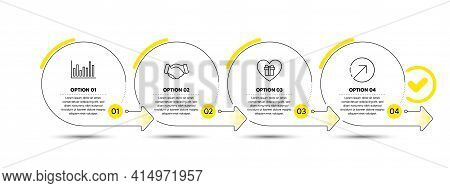 Romantic Gift, Handshake And Bar Diagram Line Icons Set. Timeline Process Infograph. Direction Sign.