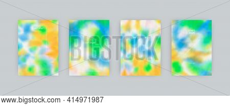 Set Of Vector Cover Templates. Light Colors Splash Hand Painted Psychedelic Tie Dye Blurred Backgrou