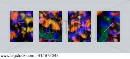 Set Of Vector Cover Templates. Neon Colors Splash Hand Painted Psychedelic Tie Dye Blurred Backgroun