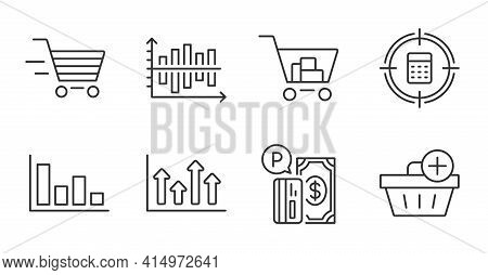 Delivery Shopping, Histogram And Add Purchase Line Icons Set. Upper Arrows, Diagram Chart And Intern
