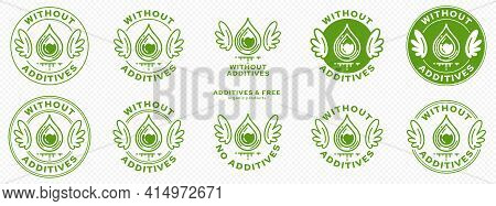 Concept For Product Packaging. Labeling - Without Additives. The Stamp With Wings, Drop And Liquid I