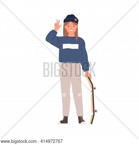 Portrait Of Happy Teen Girl Standing With Skateboard. Cute Teenager Winking And Showing Peace Sign.