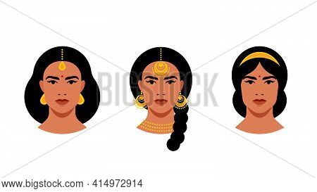 Portrait Of Indian Women With Different Make-up, Hairstyle, Hairpins. Indian Woman Set - Close-up Fe