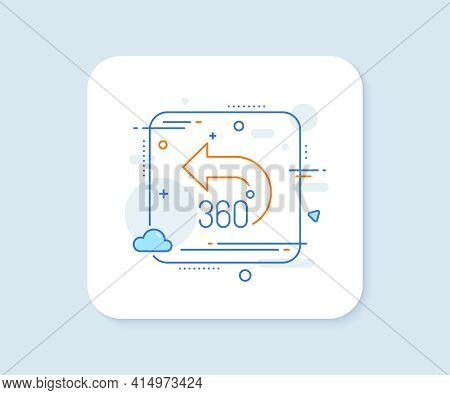 360 Degrees Line Icon. Abstract Square Vector Button. Vr Simulation Sign. Panoramic View Symbol. 360