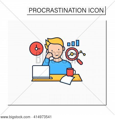 Procrastination Statistics Color Icon.unhappy Statistic.tired Person At Workplace. Dont Want Working