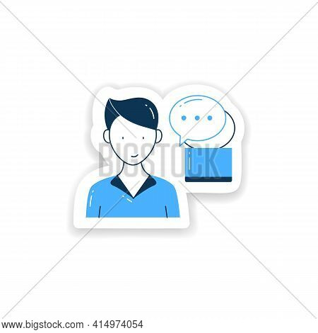 Instant Messaging Sticker. Momentary Messaging On Social Networks Badge For Designs. Contactless Com